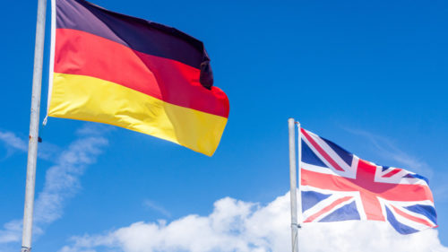 German flag and Union flag
